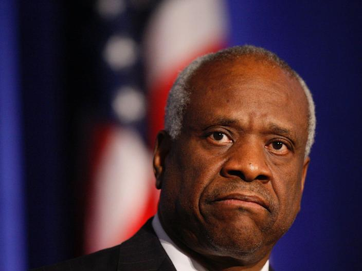 Supreme Court Justice Clarence Thomas addresses the Federalist Society in Washington, in 2007.