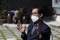 A local resident Shin Dae-sik, 83, speaks during an interview at his home in Cheongju, South Korea, Friday, Sept. 25, 2020. The coronavirus is forcing South Koreans to celebrate their Thanksgiving holiday differently this year, that begin Wednesday, Sept. 30, 2020. Shin said about 15 family members assembled for Chuseok in past years but they decided not to do so this week. (AP Photo/Lee Jin-man)