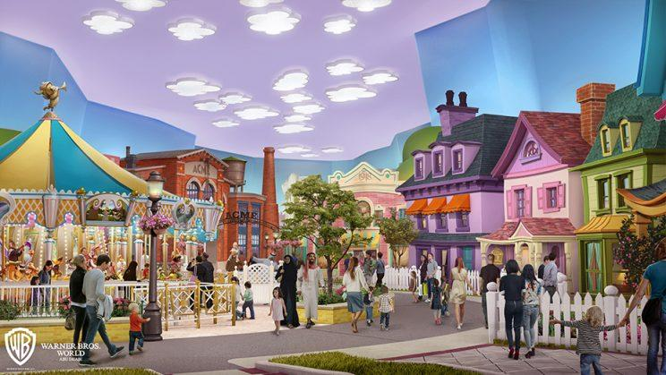 Concept art of Cartoon Junction for proposed Warner Bros. theme park in Abu Dhabi, the United Arab Emirates