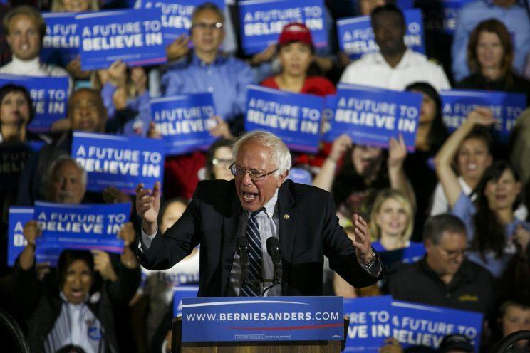 Sen. Bernie Sanders speaks to his supporters at a campaign rally in Santa Monica, Calif., June 7, 2016. (Photo: Marcus Yam/Los Angeles Times via Getty Images)