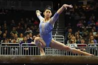 <p>DiCello, 17, is committed to the University of Florida for gymnastics. She is the 2021 national floor silver medalist, and she received first place on bars and third place for her all-around and floor performances at the 2021 GK US Classic.</p>