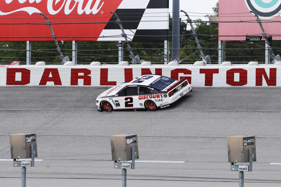 Brad Keselowski (2) competes during the NASCAR Cup Series auto race Sunday, May 17, 2020, in Darlington, S.C. (AP Photo/Brynn Anderson)