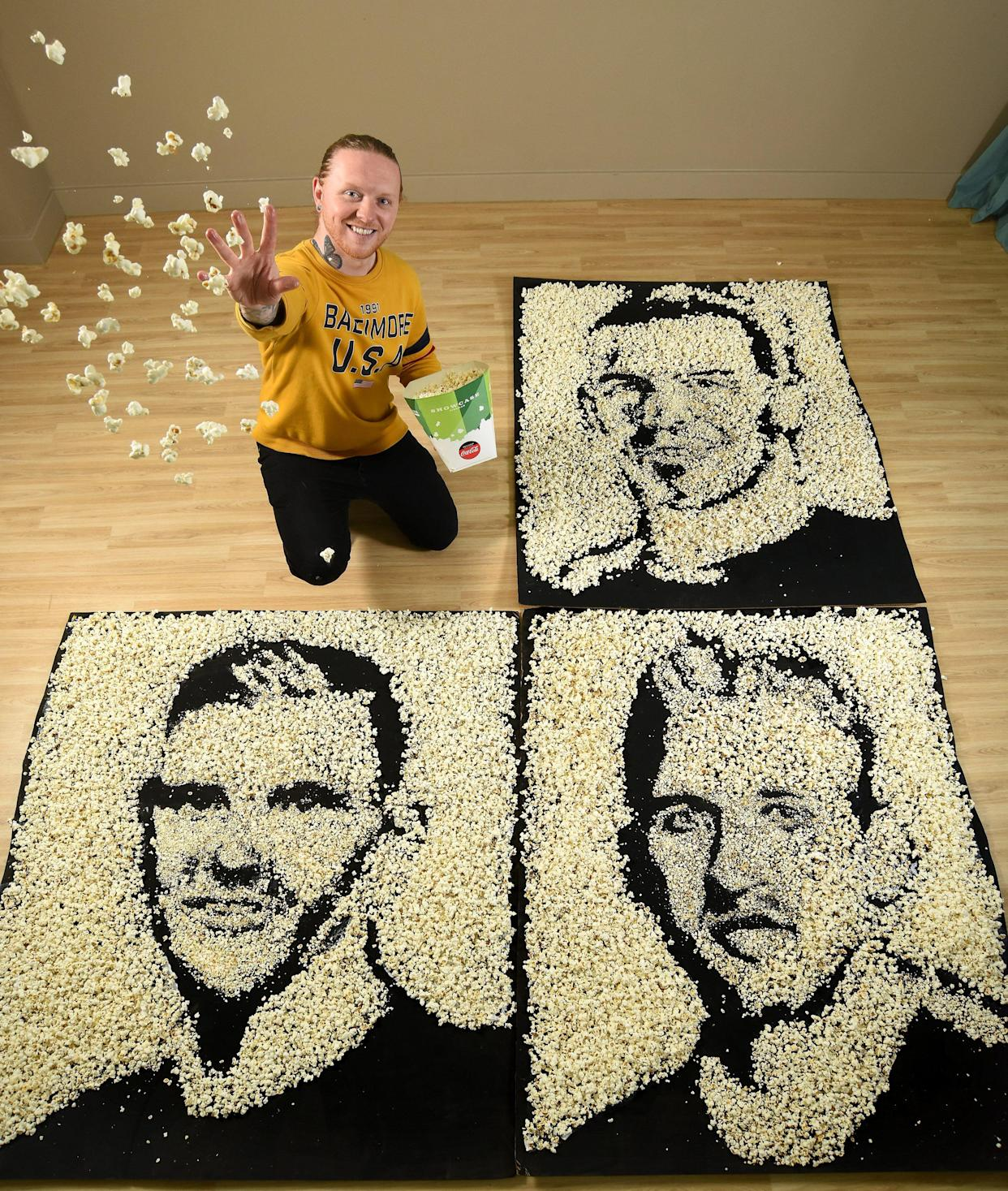 Pictured: To celebrate Showcase will be doing free screenings of the Euros, portraits have been made of the three captains from England, Scotland and Wales.  The footballers are made out of popcorn by artist, Nathan Wyburn.