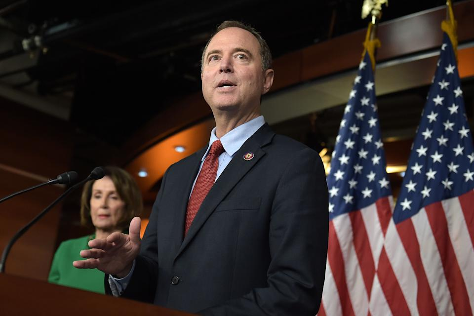 Chairman of the US House Permanent Select Committee on Intelligence, Adam Schiff (R), and Speaker of the House Nancy Pelosi hold a press conference on Capitol Hill in Washington, DC, on October 15, 2019. (Photo by Eric BARADAT / AFP) (Photo by ERIC BARADAT/AFP via Getty Images)