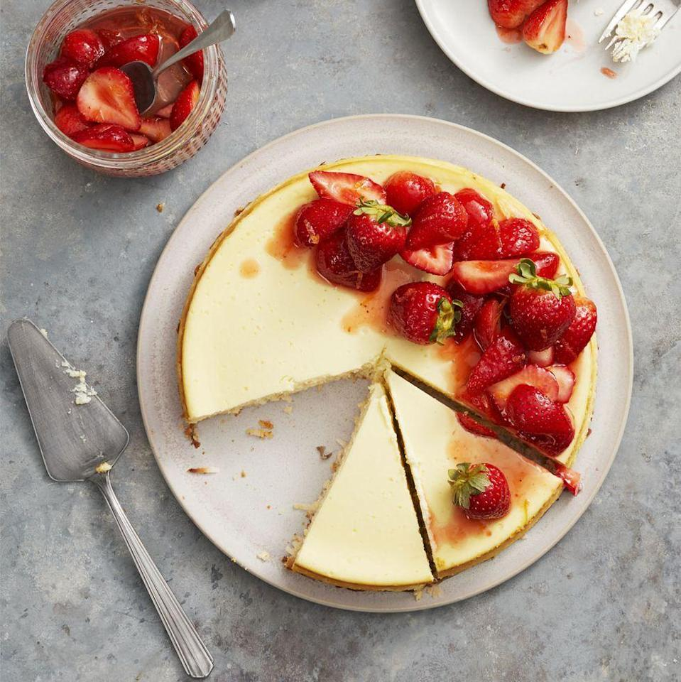 """<p>The star of this rich, creamy cheesecake? The gluten-free crust, which is made with sweetened shredded coconut! </p><p><em><a href=""""https://www.goodhousekeeping.com/food-recipes/dessert/a26783658/strawberry-coconut-crust-cheesecake-recipe/"""" rel=""""nofollow noopener"""" target=""""_blank"""" data-ylk=""""slk:Get the recipe for Strawberry Coconut-Crust Cheesecake »"""" class=""""link rapid-noclick-resp"""">Get the recipe for Strawberry Coconut-Crust Cheesecake »</a></em></p><p><strong>RELATED: </strong><a href=""""https://www.goodhousekeeping.com/food-recipes/dessert/g376/gluten-free-dessert-recipes/"""" rel=""""nofollow noopener"""" target=""""_blank"""" data-ylk=""""slk:25 Gluten-Free Desserts That Will Be the Hit of Any Party"""" class=""""link rapid-noclick-resp"""">25 Gluten-Free Desserts That Will Be the Hit of Any Party</a></p>"""