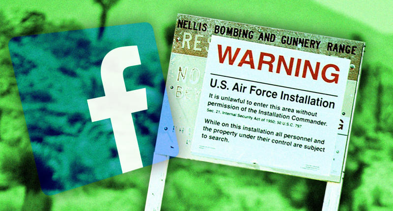 Facebook and Area 51. (Photo illustration: Yahoo News; photos: David Becker/ZUMA Wire, AP)