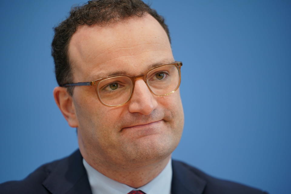Jens Spahn (CDU), Federal Minister of Health, speaks at his press conference on the vaccination launch in GP surgeries in Berlin, Germany, April 1, 2021. (Michael Kappeler/dpa via AP)