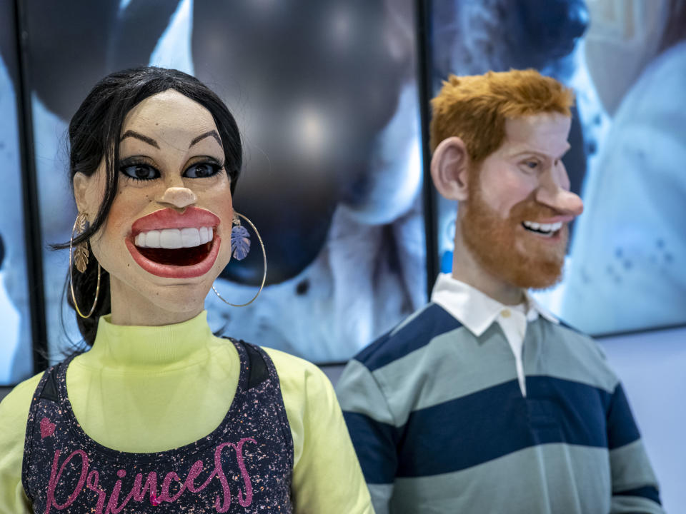 Puppets representing Prince Harry, Duke of Sussex and Meghan, Duchess of Sussex at the stand of British satirical television puppet show 'Spitting Image' during day two of the MIPCOM 2019 on October 15, 2019 in Cannes, France. (Photo by Arnold Jerocki/Getty Images)