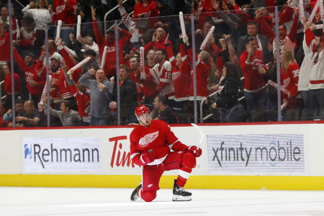 Detroit Red Wings right wing Anthony Mantha celebrates his goal during the third period of the team's NHL hockey game against the Dallas Stars, Sunday, Oct. 6, 2019, in Detroit. Mantha scored all the team's goals in a 4-3 win. (AP Photo/Paul Sancya)