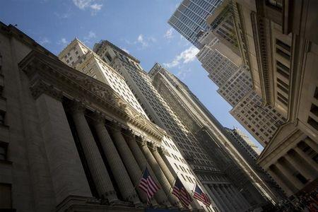 American flags hang in front of the New York Stock Exchange in the financial district