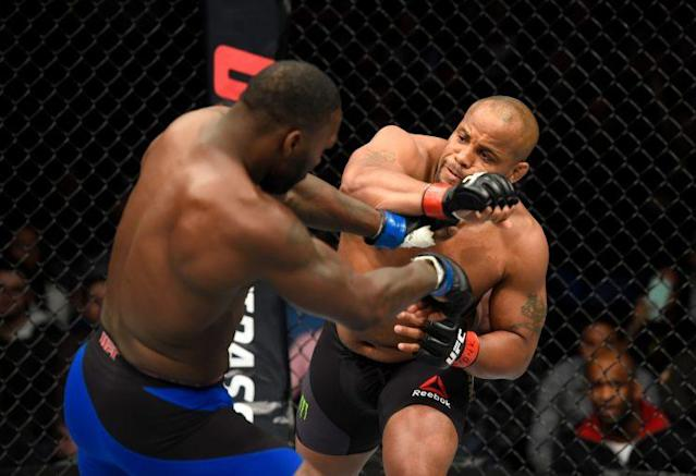 Anthony Johnson (L) fights with Daniel Cormier at UFC 210 in Buffalo, N.Y. (Getty Images)