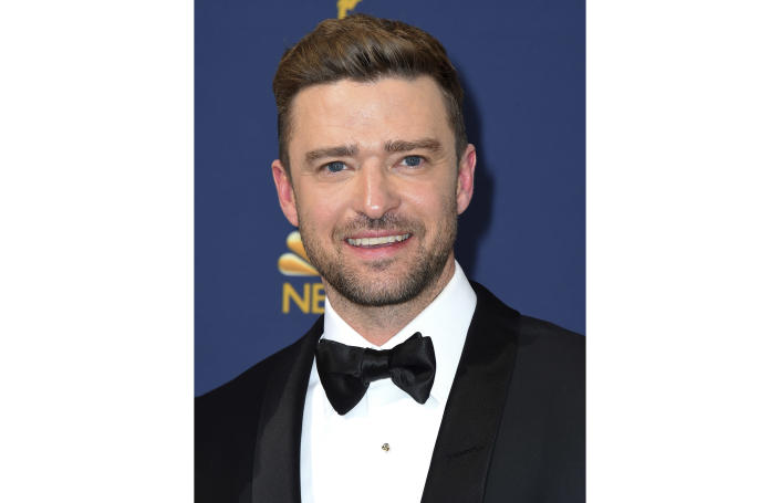 """FILE - Justin Timberlake arrives at the 70th Primetime Emmy Awards in Los Angeles on Sept. 17, 2018. Timberlake says that he wants to apologize to Britney Spears and Janet Jackson """"because I care for and respect these women and I know I failed."""" Timberlake's social media post comes a week after the release of """"The New York Times Presents: Framing Britney,"""" the FX and Hulu documentary that takes a historical look at the circumstances that led Spears' conservatorship in 2008 and highlights the #FreeBritney movement. (Photo by Jordan Strauss/Invision/AP, File)"""