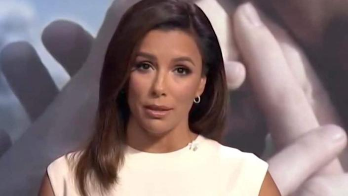 In this screenshot from the DNCC's livestream of the 2020 Democratic National Convention in August, actress-activist Eva Longoria addresses the virtual convention. (Photo by DNCC via Getty Images)