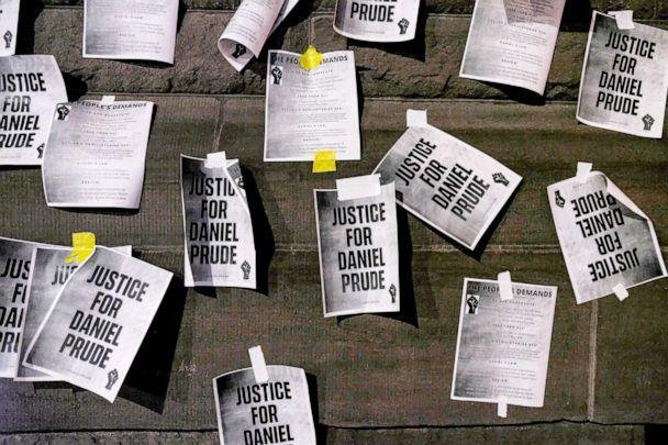 PHOTO: Notices reading 'Justice for Daniel Prude' are pasted on the exterior walls of City Hall in protest of the police killing of Daniel Prude  in Rochester, N.Y., Sept. 8, 2020. (Joshua Rashaad Mcfadden/Getty Images, FILE)