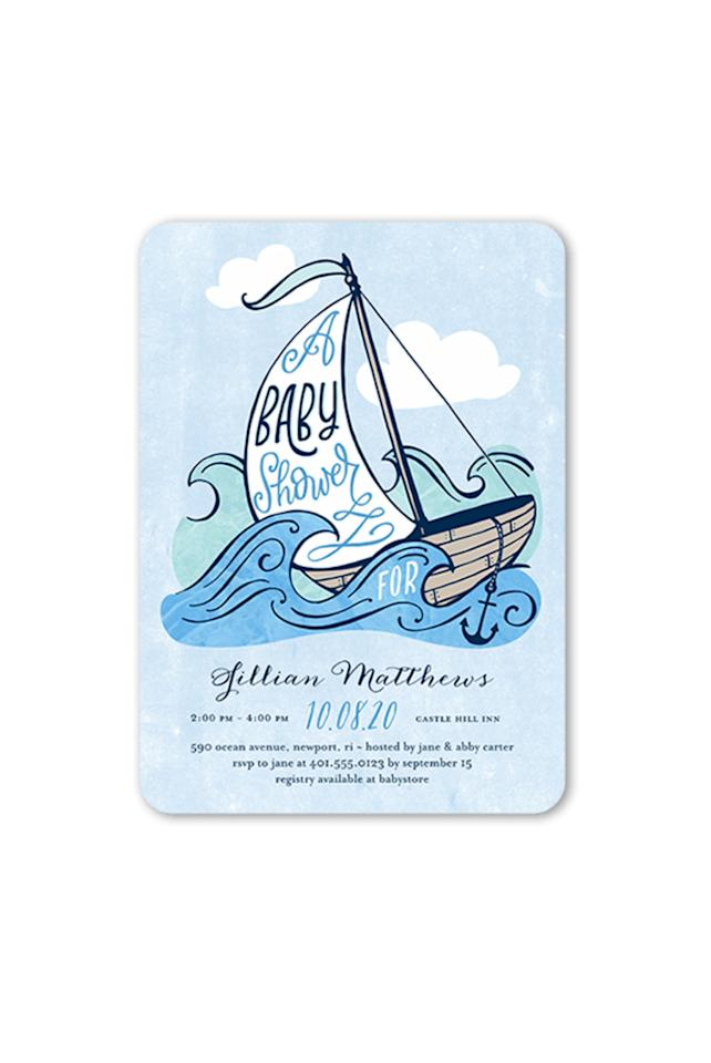 """<p><strong></strong></p><p>shutterfly.com</p><p><strong>$132.00</strong></p><p><a rel=""""nofollow"""" href=""""https://www.shutterfly.com/cards-stationery/baby-shower-invitations/maritime-soiree-boy-baby-shower-invitation"""">SHOP NOW</a></p><p>Any baby shower will be off to a smooth-sailing start with these invitations. </p>"""