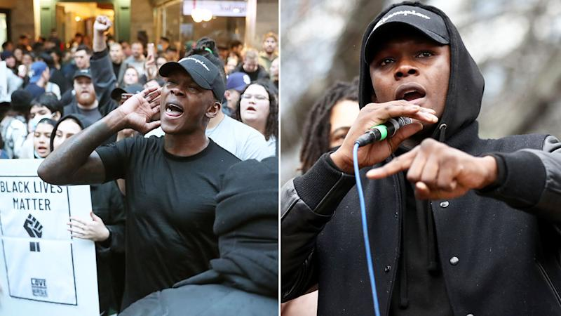 Pictured here, Israel Adesanya marching with protesters and addressing the crowd at an Auckland rally.