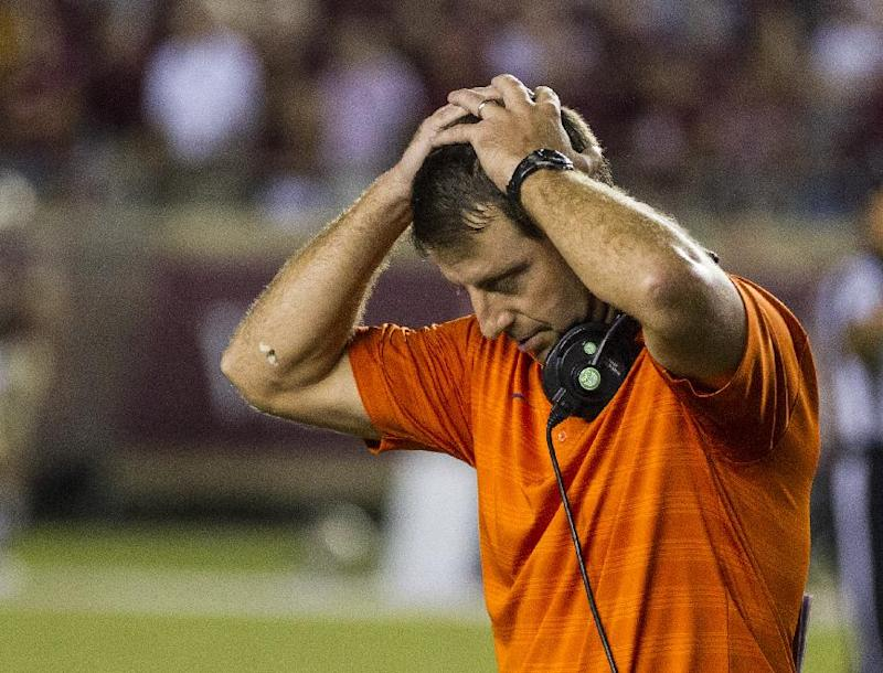 Clemson coach Dabo Swinney reacts at the end of regulation against Florida State in an NCAA college football game in Tallahassee, Fla., Saturday, Sept. 20, 2014. Florida State defeated Clemson 23-17 in overtime