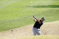 Phil Mickelson hits from a bunker off the 18th fairway during the first round of The American Express golf tournament on the Nicklaus Tournament Course at PGA West Thursday, Jan. 21, 2021, in La Quinta, Calif. (AP Photo/Marcio Jose Sanchez)