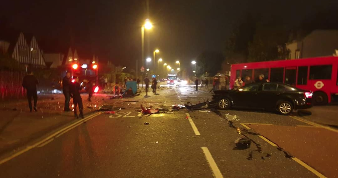 A person has died after a collision involving two buses and a car (Picture: Oli Regan/Twitter)