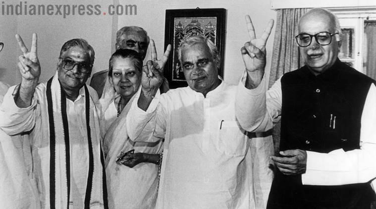 BJP Parliamentary leader Atal Behari Vajpayee after he was invited by President to form the govt along with Murali Manohar Joshi, Vijaya Raje Scindia, Jaswant Singh and LK Advani. (Express archive photo)