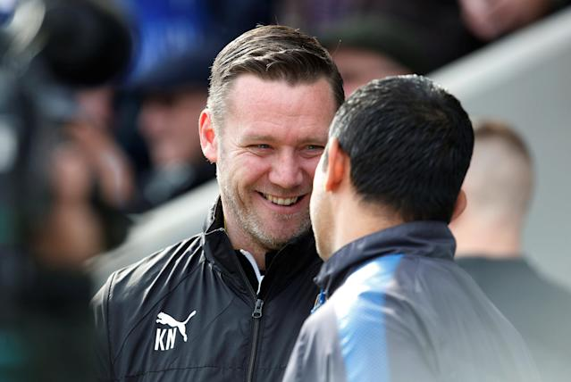 "Soccer Football - League Two - Chesterfield vs Notts County - Proact Stadium, Chesterfield, Britain - March 25, 2018 Notts County manager Kevin Nolan shakes the hand of Chesterfield manager Jack Lester before Kick off Action Images/Craig Brough EDITORIAL USE ONLY. No use with unauthorized audio, video, data, fixture lists, club/league logos or ""live"" services. Online in-match use limited to 75 images, no video emulation. No use in betting, games or single club/league/player publications. Please contact your account representative for further details."