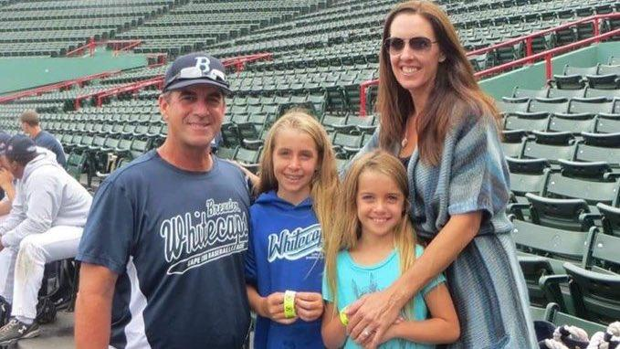 John Altobelli, far left, with wife Keri and daughters Lexi and Alyssa at Fenway Park.(Red Sox)