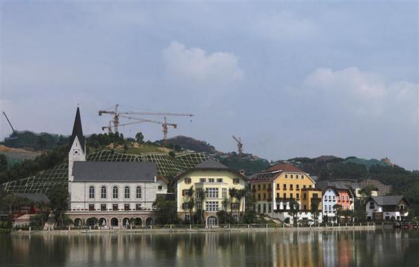 A general view of a replica of Austria's UNESCO heritage site, Hallstatt village, in China's southern city of Huizhou in Guangdong province, June 1, 2012.