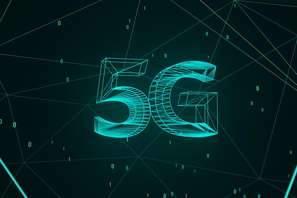 Digital rendering of 5G with glowing green wireframes and floating binary numbers