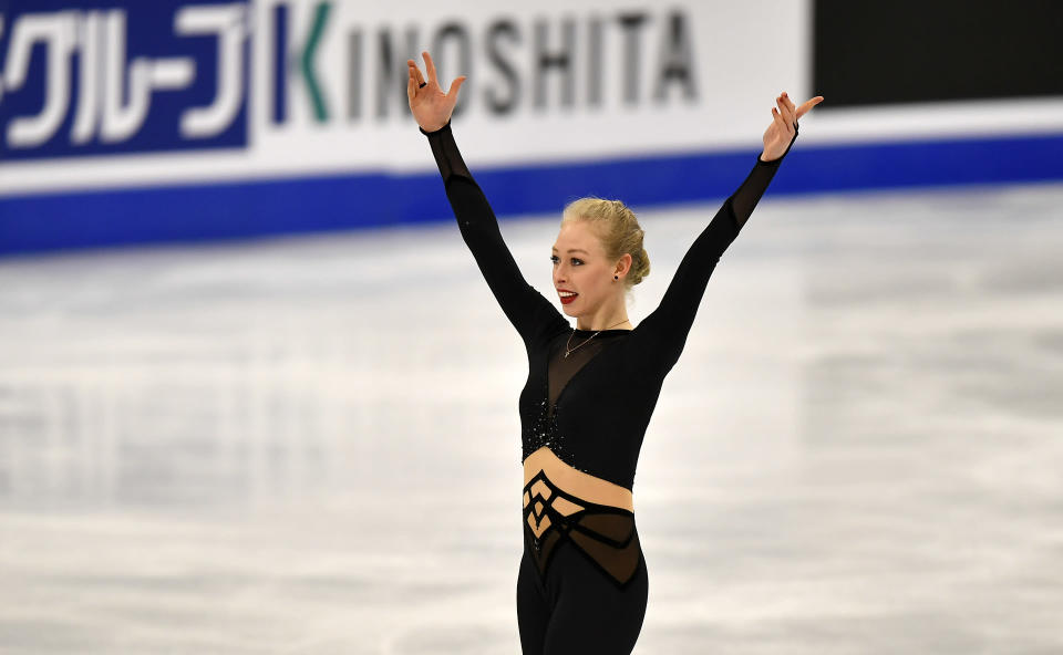 Bradie Tennell of the USA performs during the Ladies Short Program at the Figure Skating World Championships in Stockholm, Sweden, Wednesday, March 24, 2021. (AP Photo/Martin Meissner)