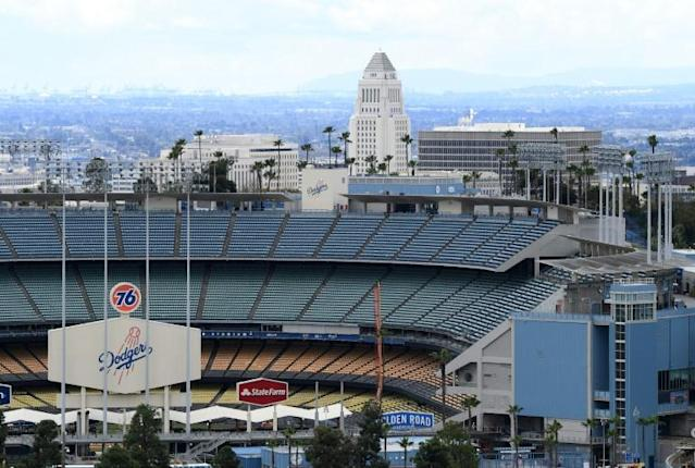 Dodger Stadium could see Major League Baseball action as early as June, albeit without fans in attendance, California Governor Gavin Newsom has indicated (AFP Photo/Harry How)