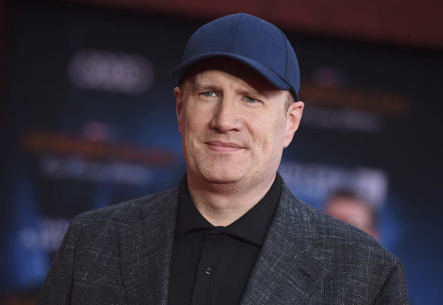 """Marvel Studios President Kevin Feige arrives at the world premiere of """"Spider-Man: Far From Home"""" on Wednesday, June 26, 2019, at the TCL Chinese Theatre in Los Angeles. (Photo by Jordan Strauss/Invision/AP)"""
