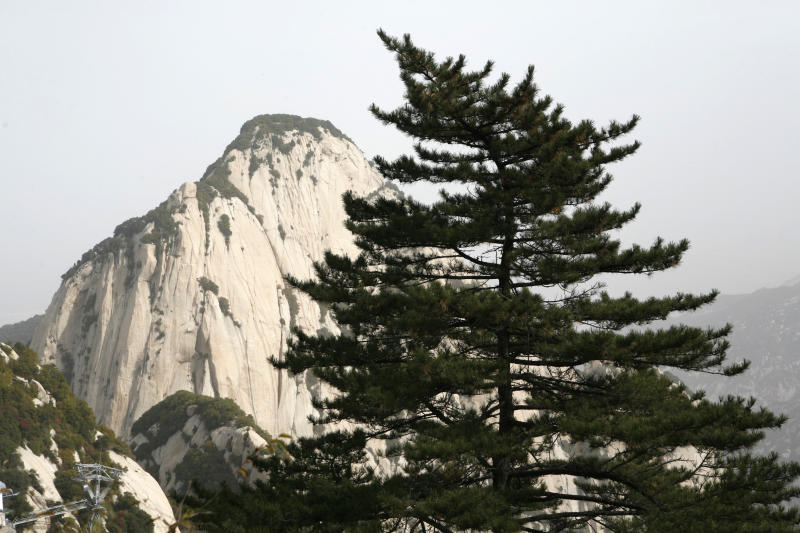 Pictured is the peak of Huashan Mountain in the Qinling Mountain Range, is one of the Five Sacred Mountains of China where a university student reportedly fell to her death.