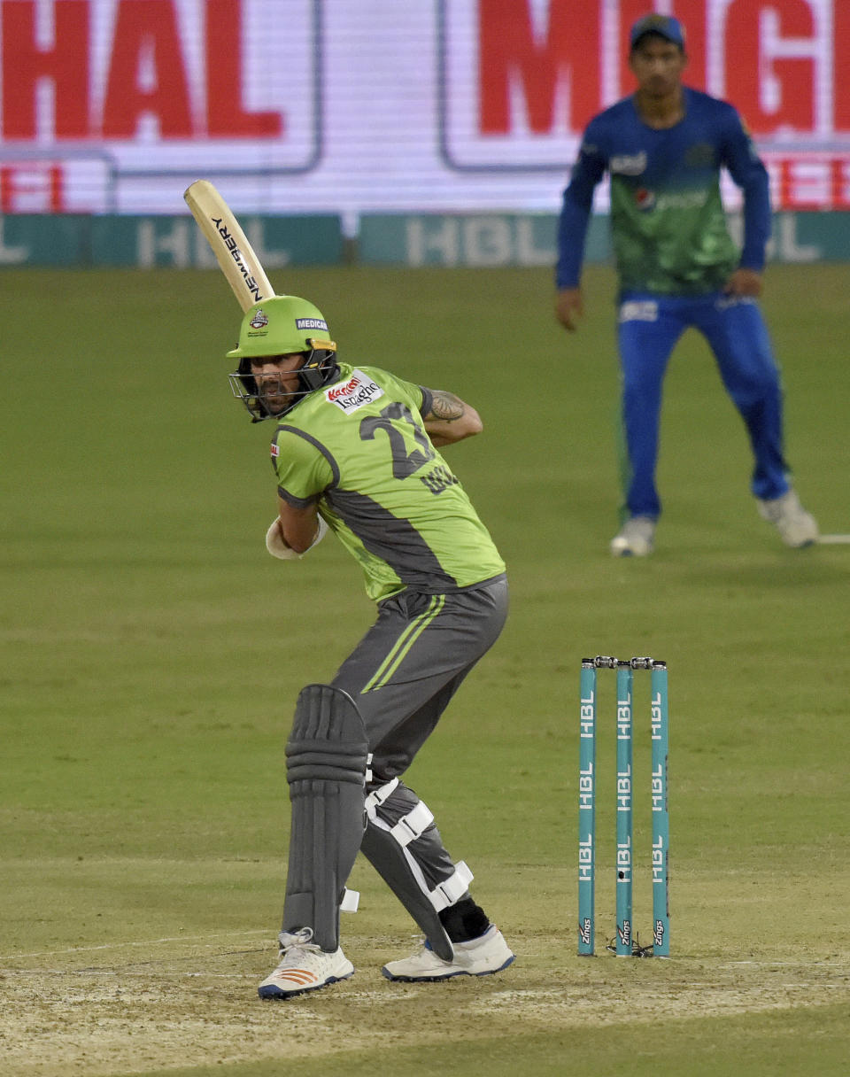 Lahore Qalandars batsman David Wiese bats against Multan Sultans during the second eliminator cricket match of Pakistan Super League T20 cup at National Stadium in Karachi, Pakistan, Sunday, Nov. 15, 2020. (AP Photo/Fareed Khan)