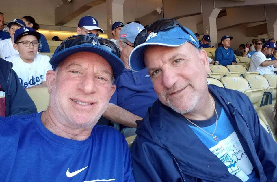 Ross Miller and his brother attend the Dodgers' 2019 home opener.