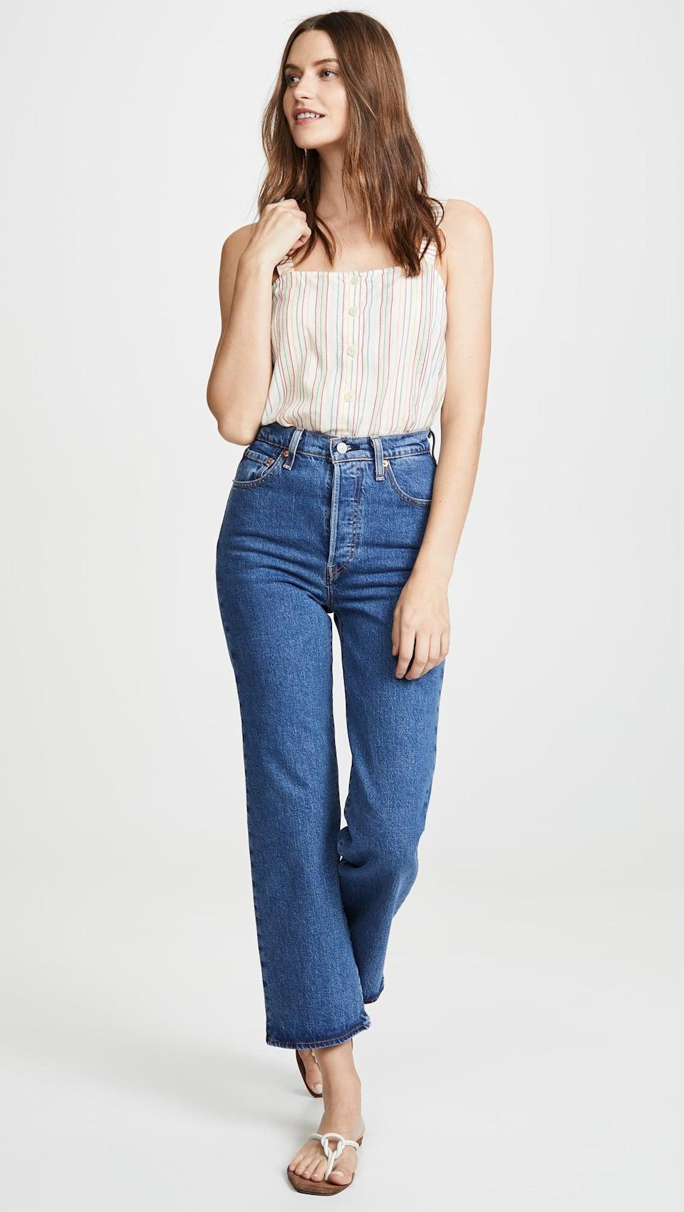 <p>These <span>Levi's Ribcage Straight Ankle Jeans</span> ($98) are flattering and so wearable. We love that the waist is so high.</p>