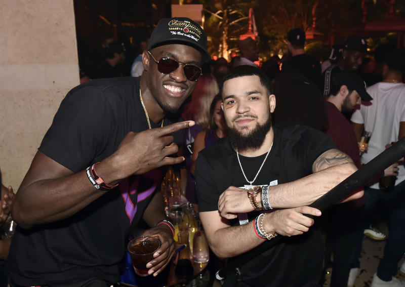 LAS VEGAS, NEVADA - JUNE 14: Pascal Siakam (L) and Fred VanVleet of the Toronto Raptors celebrate their NBA championship at XS Nightclub at Wynn Las Vegas on June 14, 2019 in Las Vegas, Nevada. (Photo by David Becker/Getty Images for Wynn Las Vegas)