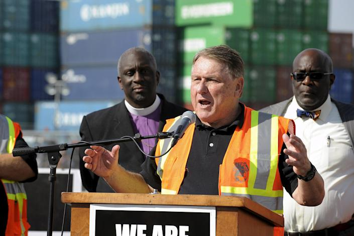Teamsters labour union James P. Hoffa speaks at a news conference regarding truck drivers striking against what they say are misclassification of workers at the Ports of Long Beach and Los Angeles in Long Beach (Bob Riha Jr / Reuters file)