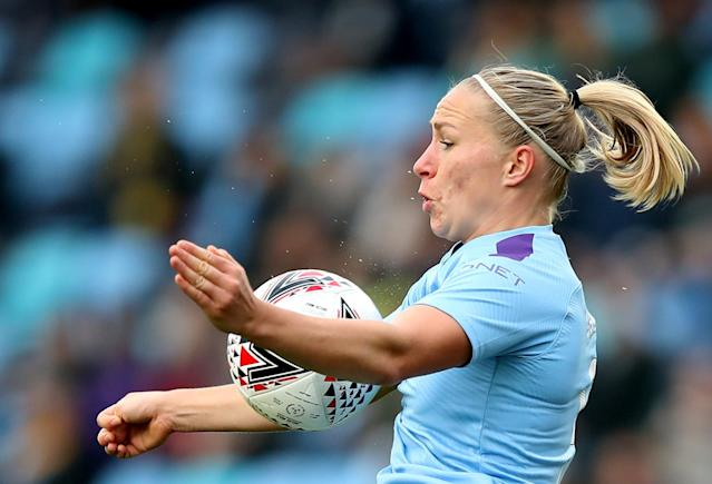 Soccer Football - FA Women's League Cup - Manchester City v Birmingham City - The Academy Stadium, Manchester, Britain - November 3, 2019 Manchester City's Pauline Bremer in action Action Images via Reuters/Molly Darlington