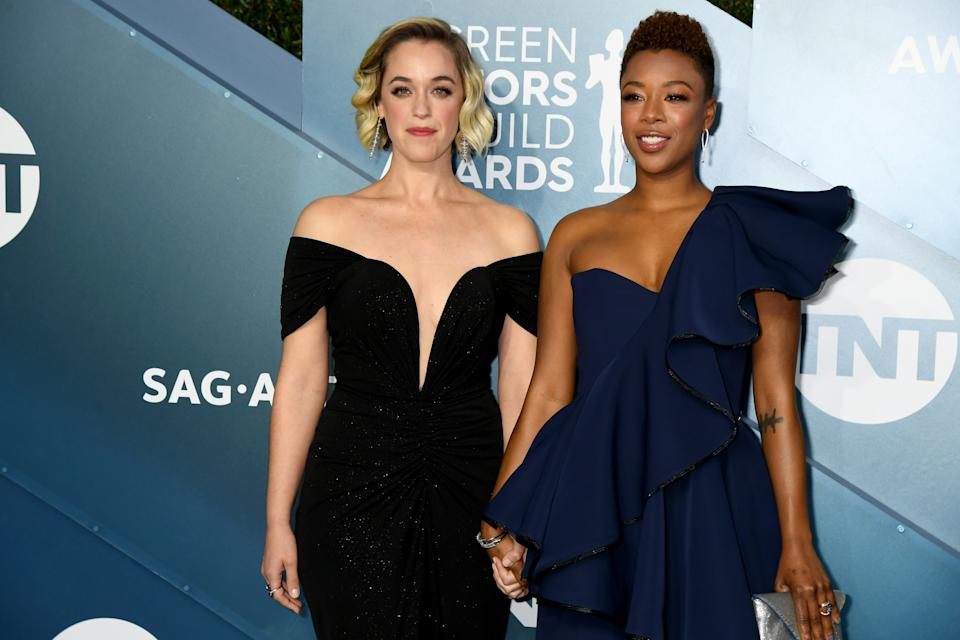 LOS ANGELES, CALIFORNIA - JANUARY 19:  (L-R) Lauren Morelli and Samira Wiley attends the 26th Annual Screen ActorsGuild Awards at The Shrine Auditorium on January 19, 2020 in Los Angeles, California. (Photo by Jeff Kravitz/FilmMagic)