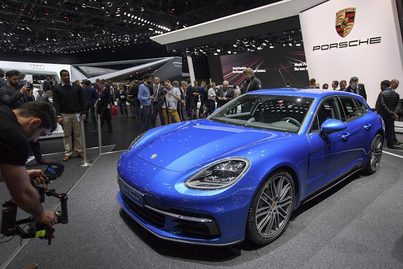 The new Porsche Panamera 4S Diesel Sport Turismo is presented during the press day at the 87th Geneva International Motor Show in Geneva, Switzerland, Tuesday, March7, 2017. The Motor Show will open its gates to the public from March 9 to 19. (Martial Trezzini/Keystone via AP)