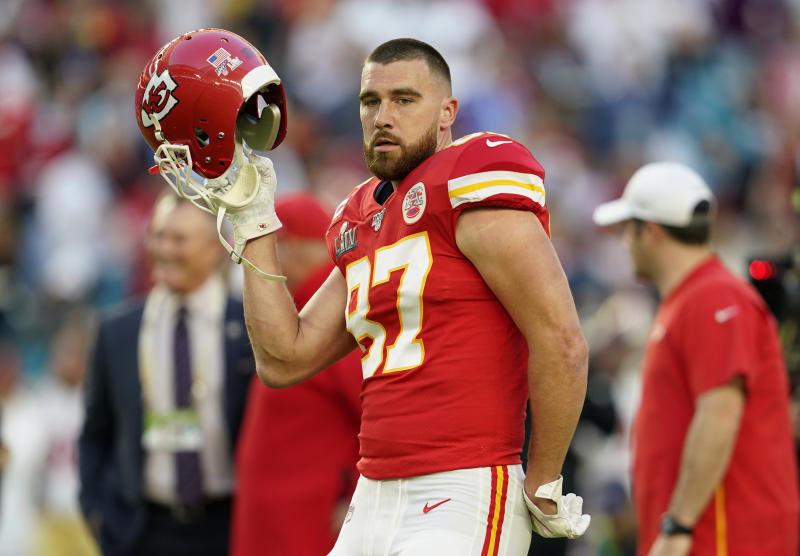 Kansas City Chiefs' Travis Kelce before the game.