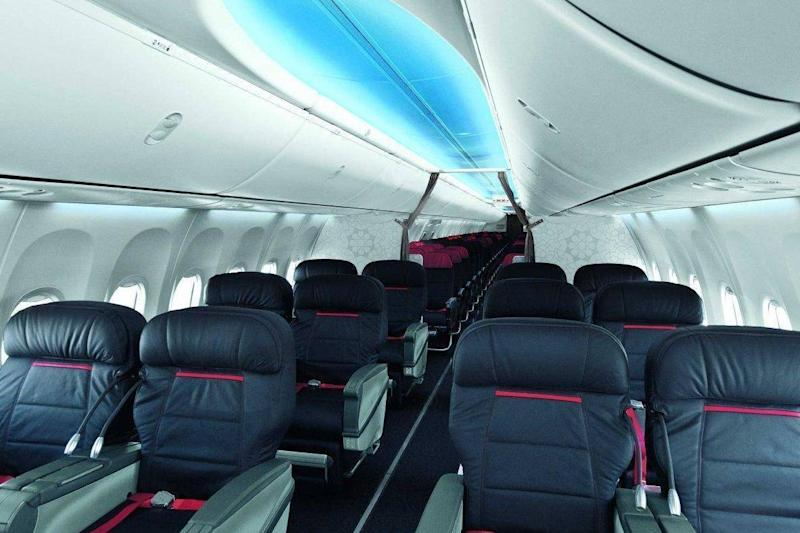 Some Boeing planes have ceiling panels lit with colour LEDs to make the aircraft look larger and brighter (Boeing)