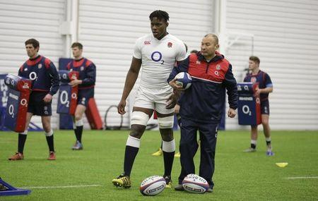 Rugby Union - England Training - Pennyhill Park Hotel, Bagshot, Surrey - 17/3/16 England's Maro Itoje with head coach Eddie Jones during training Action Images via Reuters / Henry Browne Livepic