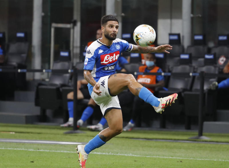 Napoli's Lorenzo Insigne, controls the ball during the Serie A soccer match between Inter Milan and Napoli at the San Siro Stadium, in Milan, Italy, Tuesday, July 28, 2020. (AP Photo/Antonio Calanni)