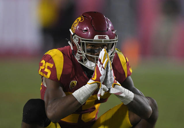 "<a class=""link rapid-noclick-resp"" href=""/ncaaf/players/251988/"" data-ylk=""slk:Jack Jones"">Jack Jones</a> led USC with four interceptions in 2017. (AP Photo/Mark J. Terrill)"