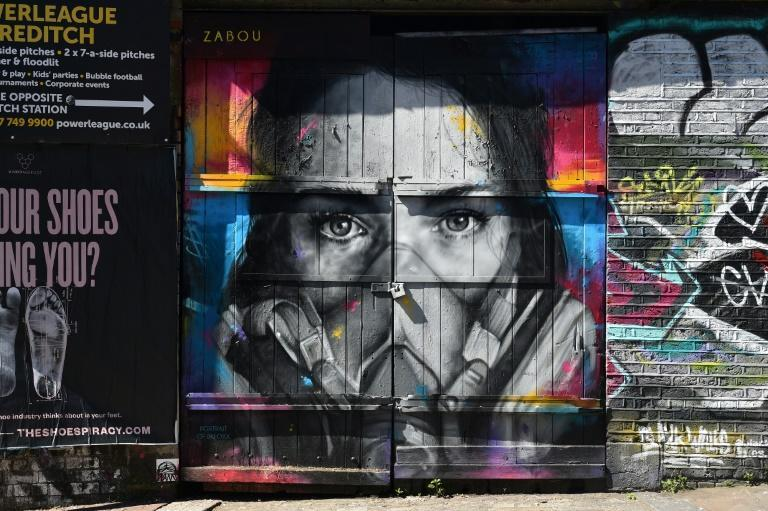 A mural by French street artist Zabou in East London