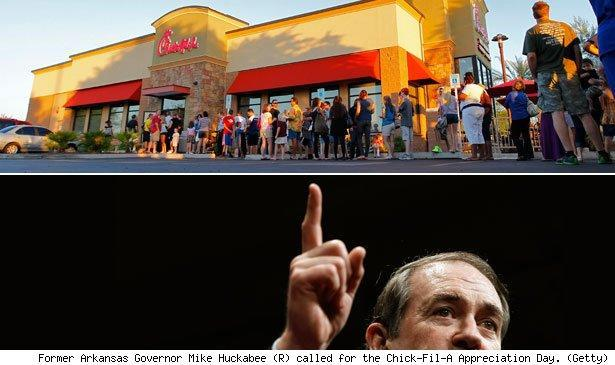 Former Arkansas Governor Mike Huckabee (R) called for the Chick-Fil-A Appreciation Day. (Getty)