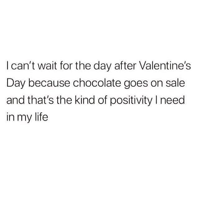 """<p>The best part about Valentine's Day? When it's finally over and all that delicious chocolate goes on sale, of course. </p><p><a href=""""https://www.instagram.com/p/BfM6Y1gBd1U/?utm_source=ig_embed"""" rel=""""nofollow noopener"""" target=""""_blank"""" data-ylk=""""slk:See the original post on Instagram"""" class=""""link rapid-noclick-resp"""">See the original post on Instagram</a></p>"""