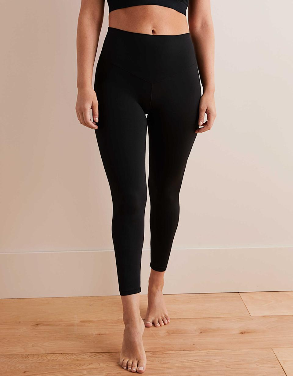 """<strong><h3>Aerie: The Super Soft Legging</h3></strong> <br>If you're looking for leggings that are equally soft and stretchy, look no further.<br><br><strong>The hype:</strong> 4.8 out of 5 stars and 2,173 reviews on American Eagle Outfitters<br><br><strong>What they're saying:</strong> <br>""""These are the most comfortable leggings I've ever worn. They stay in place while running, they're squat proof, and they're beyond comfortable just to wear around the house. After wearing my first pair I immediately went and ordered in every color."""" - LLAPIC42, American Eagle Outfitters Review<br><br><strong>Aerie</strong> Play Real Me High Waisted 7/8 Legging, $, available at <a href=""""https://www.ae.com/us/en/p/women/leggings/aerie-leggings/aerie-play-real-me-high-waisted-7-8-legging/0491_4429_073"""" rel=""""nofollow noopener"""" target=""""_blank"""" data-ylk=""""slk:American Eagle Outfitters"""" class=""""link rapid-noclick-resp"""">American Eagle Outfitters</a><br><br><br><br><br><br>"""