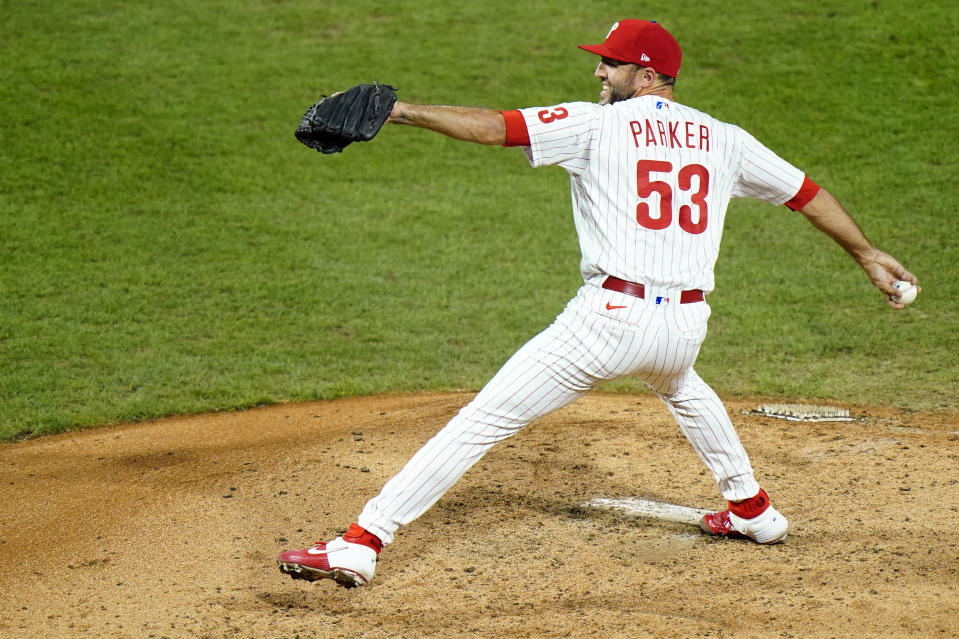Philadelphia Phillies' Blake Parker pitches during the fifth inning of a baseball game against the New York Mets, Friday, Aug. 14, 2020, in Philadelphia. (AP Photo/Matt Slocum)